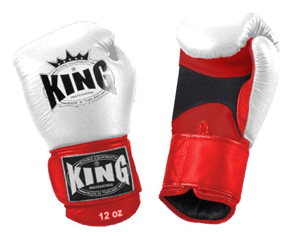 KING Dual Color Boxing Gloves- Air Velcro- Red-White-Red- Premium Leather