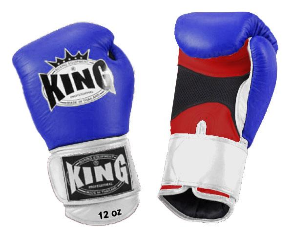KING Triple Color Boxing Gloves- Air Velcro- Red-Blue-White- Premium Leather