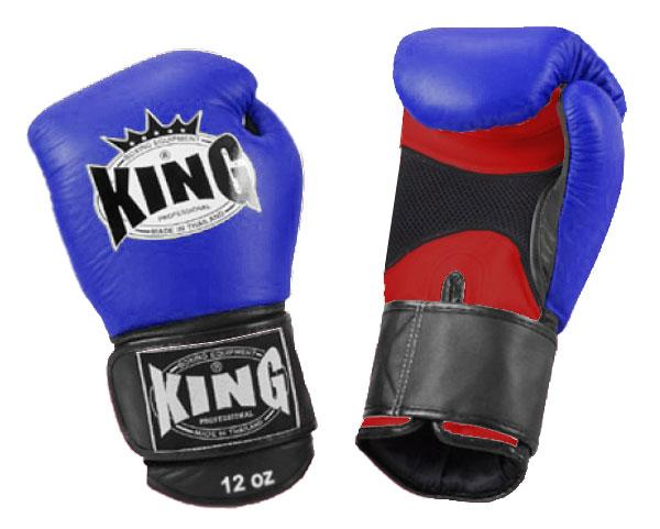 KING Triple Color Boxing Gloves- Air Velcro- Red-Blue-Black- Premium Leather