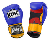 KING Triple Color Boxing Gloves- Air Velcro- Red-Blue-Yellow- Premium Leather