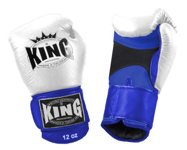 KING Dual Color Boxing Gloves- Air Velcro- Blue-White-Blue- Premium Leather