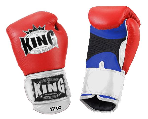 KING Triple Color Boxing Gloves- Air Velcro- Blue-Red-White- Premium Leather