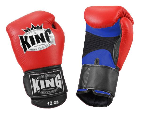 KING Triple Color Boxing Gloves- Air Velcro- Blue-Red-Black- Premium Leather