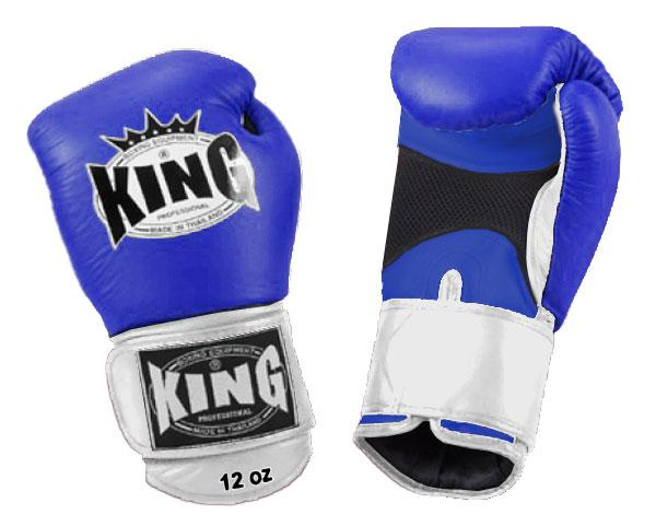 KING Dual Color Boxing Gloves- Air Velcro- Blue-Blue-White- Premium Leather
