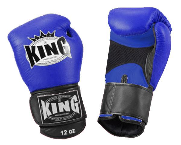 KING Dual Color Boxing Gloves- Air Velcro- Blue-Blue-Black- Premium Leather