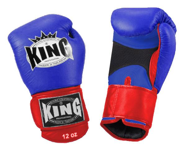 KING Dual Color Boxing Gloves- Air Velcro- Blue-Blue-Red- Premium Leather