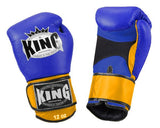 KING Dual Color Boxing Gloves- Air Velcro- Blue-Blue-Yellow- Premium Leather