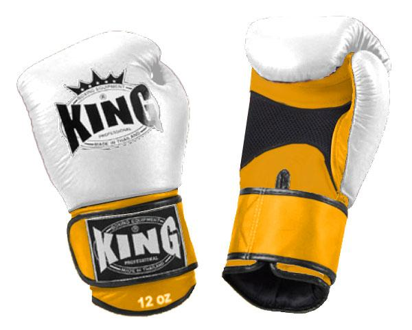 KING Dual Color Boxing Gloves- Air Velcro- Yellow-White-Yellow- Premium Leather