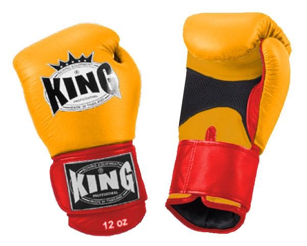 KING Dual Color Boxing Gloves- Air Velcro- Yellow-Yellow-Red- Premium Leather
