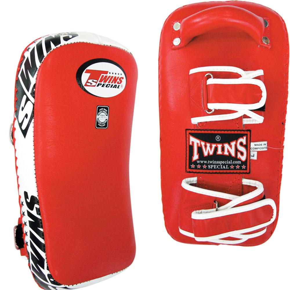 Twins Special Curved Thai Pads w/ Velcro- Red-White