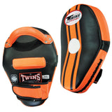 Twins Special Curved Leaf Thai Pads w/ Velcro- Black-Orange