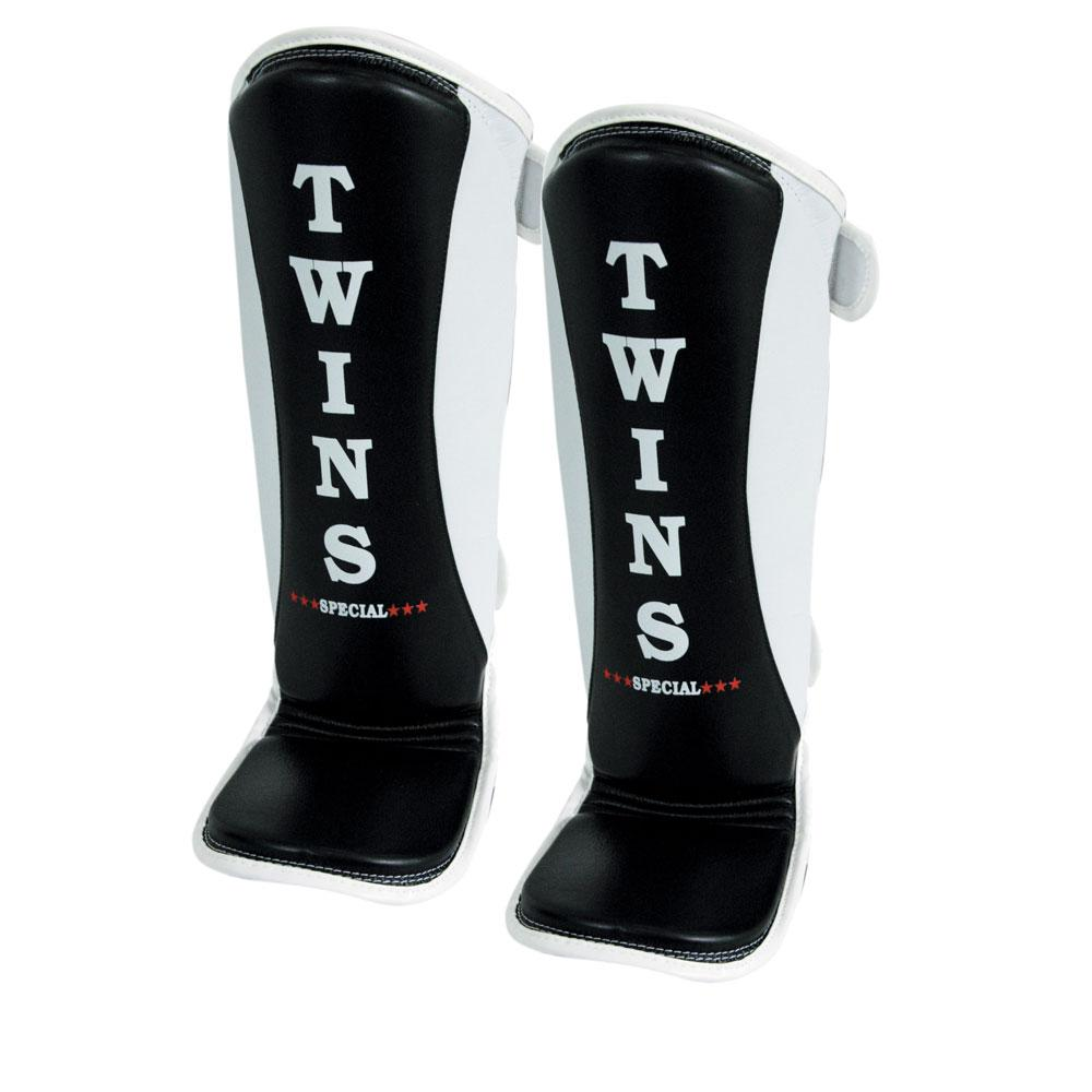 Twins Special MMA Shin Guards- Premium Leather- Black White