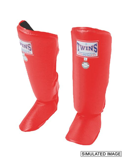 Twins Classic Shin Guards- Pro Synthetic - Red