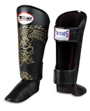 Twins Dragon Shin Guards - Black Gold - Premium Leather