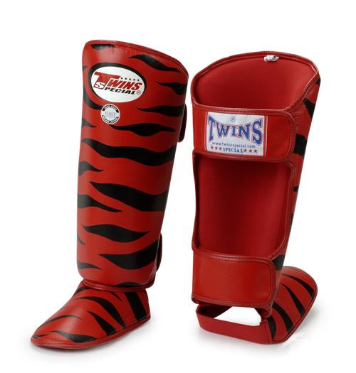 Twins Tiger Shin Guards - Red Black - Premium Leather