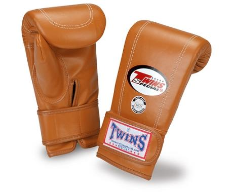 Twins Velcro Wrist Bag Gloves Full Thumb - Brown