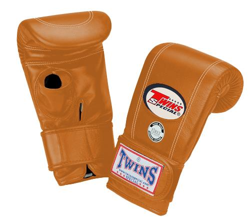 Twins Velcro Wrist Bag Gloves Open Thumb - Brown