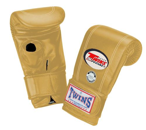 Twins Velcro Wrist Bag Gloves Open Thumb - Gold