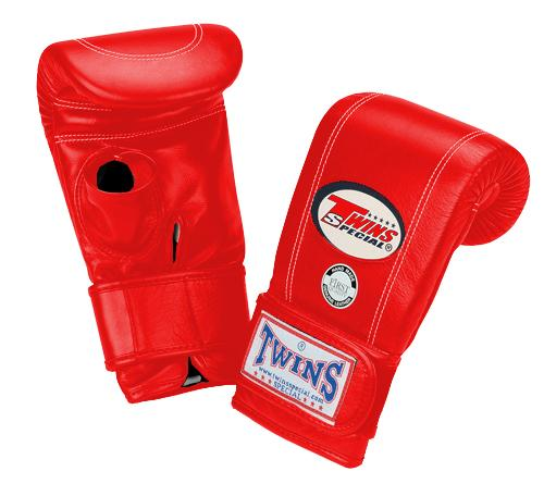 Twins Velcro Wrist Bag Gloves Open Thumb - Red