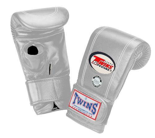 Twins Velcro Wrist Bag Gloves Open Thumb - Silver