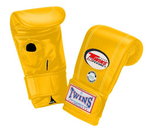 Twins Velcro Wrist Bag Gloves Open Thumb - Yellow
