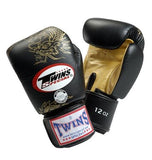 Twins Dragon Boxing Gloves- Black Gold - Premium Leather