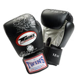 Twins Dragon Boxing Gloves- Black Silver - Premium Leather