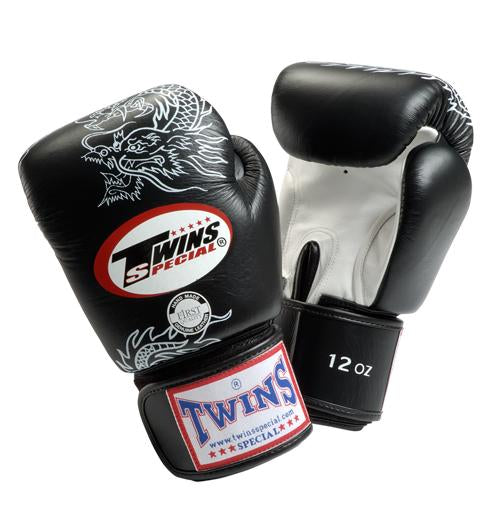 Twins Dragon Boxing Gloves- Black White - Premium Leather