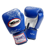 Twins Dragon Boxing Gloves- Blue White - Premium Leather