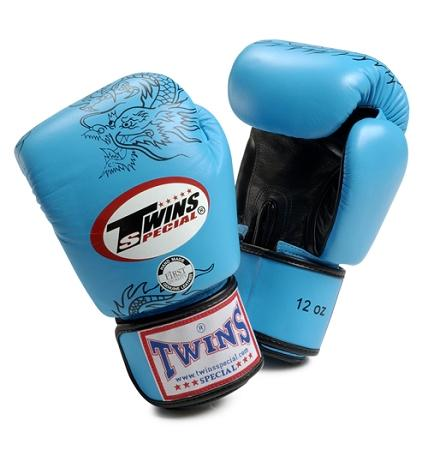 Twins Dragon Boxing Gloves- Light Blue Black - Premium Leather