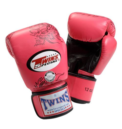 Twins Dragon Boxing Gloves- Pink Black - Premium Leather