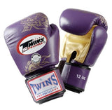 Twins Dragon Boxing Gloves- Purple Gold - Premium Leather