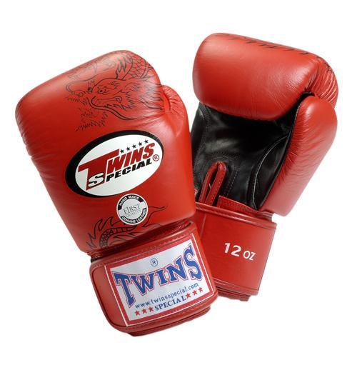 Twins Dragon Boxing Gloves- Red Black - Premium Leather