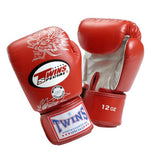 Twins Dragon Boxing Gloves- Red Silver - Premium Leather