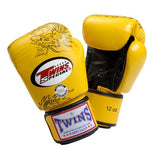 Twins Dragon Boxing Gloves- Yellow Black - Premium Leather