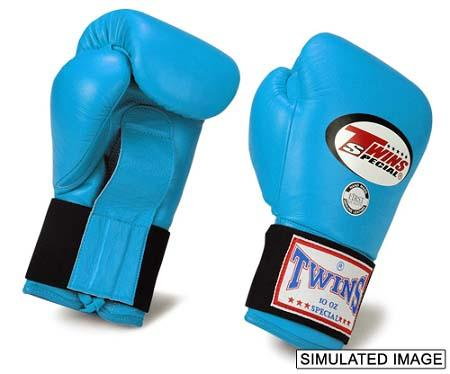 Twins Boxing Gloves - Light Blue - Premium Leather Laceup w/ Elastic