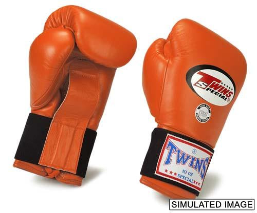 Twins Boxing Gloves - Orange - Premium Leather Laceup w/ Elastic