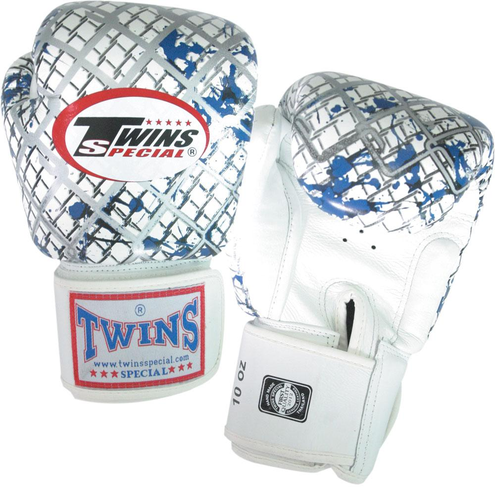 Twins Chainlink Boxing Gloves- Premium Leathe- White
