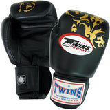 Twins Flower Boxing Gloves- Premium Leather- Black Gold