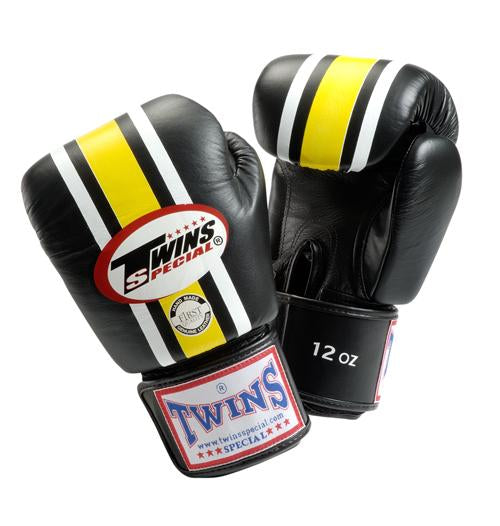 Twins Lumpini Boxing Gloves - Black - Premium Leather