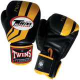 Twins Fighting Spirit Boxing Gloves- Black Yellow - Premium Leather