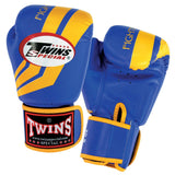 Twins Fighting Spirit Boxing Gloves- Blue Yellow - Premium Leather