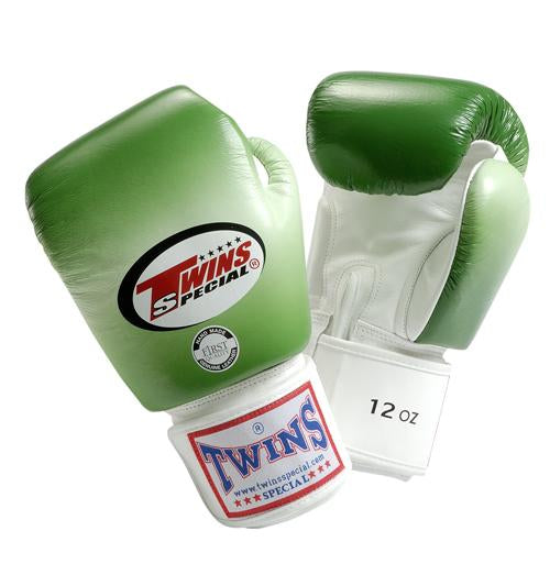 Twins Horizontal Slide Boxing Gloves- Green - Premium Leather