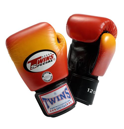 Twins Horizontal Slide Boxing Gloves- Red - Premium Leather