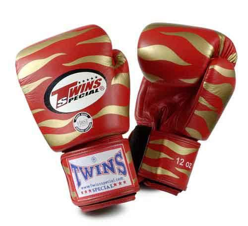 Twins Tiger Boxing Gloves- Red Gold Premium Leather