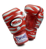 Twins Tiger Boxing Gloves- Red Silver Premium Leather