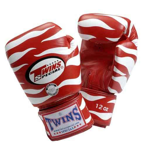 Twins Tiger Boxing Gloves- Red White Premium Leather