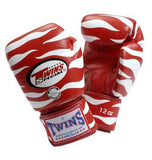 Twins Tiger Boxing Gloves- Red White - Premium Leather