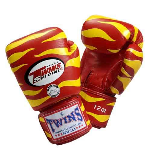 Twins Tiger Boxing Gloves- Red Yellow Premium Leather
