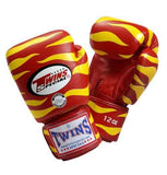 Twins Tiger Boxing Gloves- Red Yellow - Premium Leather